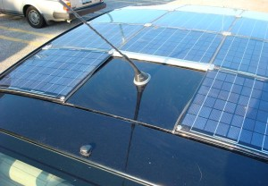 Solar panels on car roof